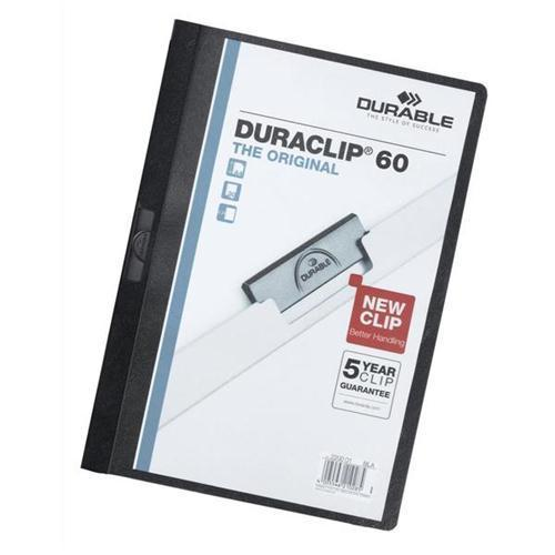 Durable Duraclip Folders - 6mm (approx 60 sheets) - Black