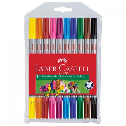 Faber-Castell Double Fibre-tip Pen (Assorted pack of 10)