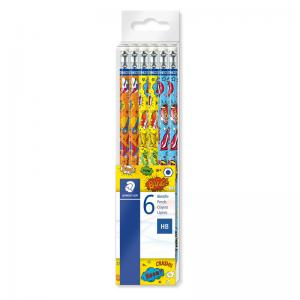 Staedtler Comic Range Eraser Tipped HB Pencils (Pkd 6)