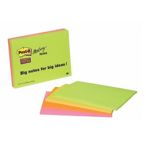 3M Post-it Super Sticky Meeting Notes - Neon