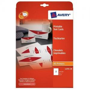 Avery L4795 (180x60mm) Printable Business Tent Cards (Pack of 40 Cards)