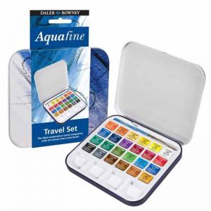 Daler-Rowney Aquafine Watercolour Travel Set (24 Half Pans)