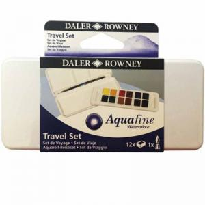 Daler-Rowney Aquafine Watercolour Travel Set (12 Half Pans)