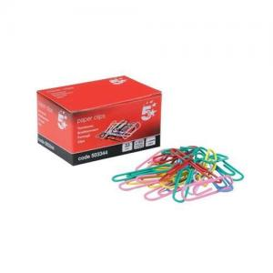 5 Star Office Paper Clips - Assorted Colours (Pkd 100)