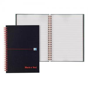Oxford Black n'Red Glossy Wirebound Hardback Notebook