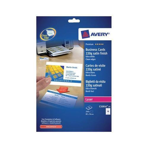 Avery Laser Business Cards Double-sided Satin White