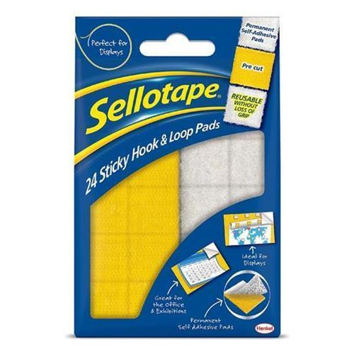 Sellotape Sticky Hook & Loops Pads (24 Pads)