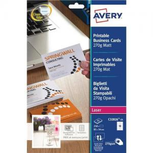 Avery Laser Business Cards Satin White