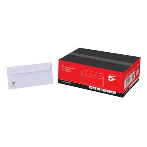 5 Star Office White DL Envelopes (Pkd 500)