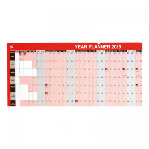 5 Star Office 2019 Year Planner Mounted Landscape with Kit