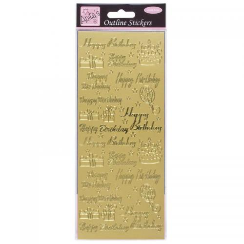 Anita's Outline Stickers - Happy Birthday Assorted