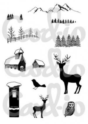 Card-io Clear Stamps - Christmas Scenery 1