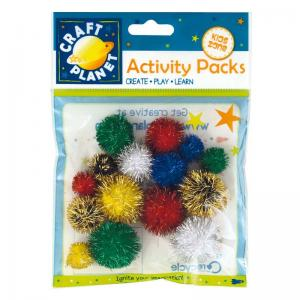 Craft Planet Pompoms Glitter (15pk)