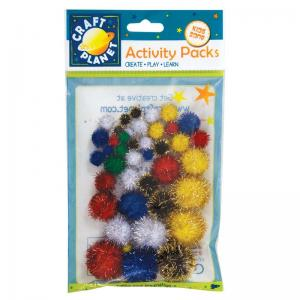 Craft Planet Pompoms Glitter (42pk)