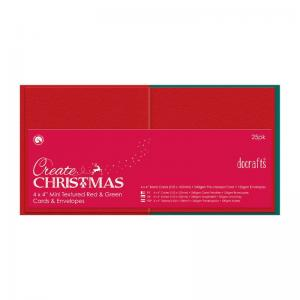 "Create Christmas 4 x 4"" Cards/Envelopes Textured (25pk, 240gsm)"