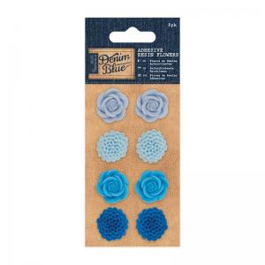 Adhesive Resin Flowers (8pk) -Denim Blue