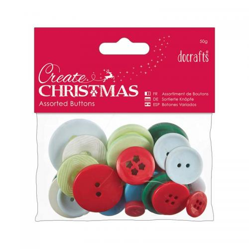 Assorted Buttons (50g) - Traditional Christmas