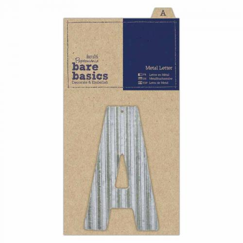 Papermania Bare Basics Metal Letters - Silver (1pc)