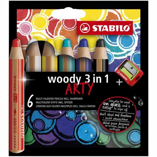 Stabilo Woody 3in1 Coloured Pencil Wallet (6 Pieces)