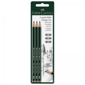 Faber-Castell Graphite Pencils 9000 (Set of 3 - HB, 2B, 4B)
