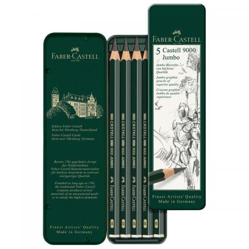 Faber-Castell Graphite Pencils 9000 Jumbo Set (Tin of 5 Pencils)