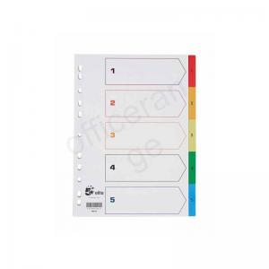 5 Star Elite Multicoloured Polypropylene A4 Dividers - 1-5