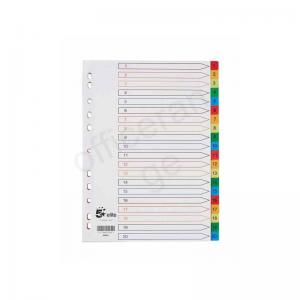 5 Star Elite Multicoloured Polypropylene A4 Dividers 1-20