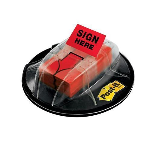 3M Index Sign Here Flags Desk Grip Dispenser