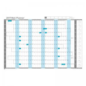 Sasco 2019 Wall Planner Landscape Unmounted with Pen Kit