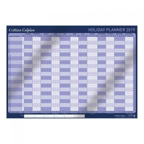 Collins Colplan 2019 Holiday Wall Planner Unmounted Landscape A1