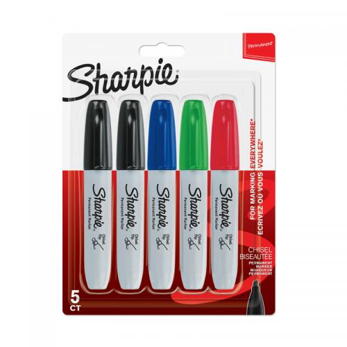 Sharpie Permanent Marker Assorted Chisel (Pkd 5)