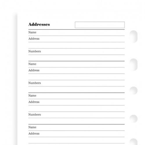 Filofax Name, address and telephone number