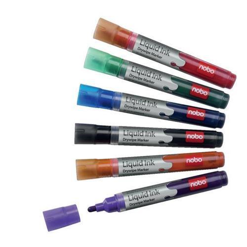 Nobo Liquid Ink Drymarker Assorted - (Wallet 6)