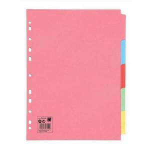 5 Star Office Manilla A4 Multicoloured Subject Dividers