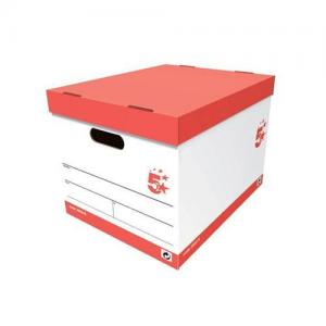 5 Star Office Storage Boxes - Red & White (Pkd 10)