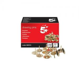 5 Star Office Brassed Drawing Pins (Pkd 150)