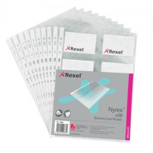 Rexel Nyrex Business Card A4 Pockets (Pkd 10)