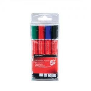 5 Star Office Bullet Tip Permanent Markers (Wallet of 4)
