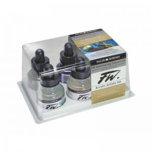 FW Artists' Acrylic Ink 6 Shimmering Colour set