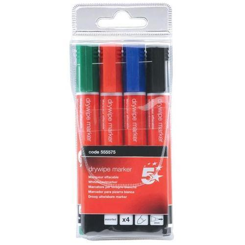 5 Star Office Drywipe Markers (Wallet of 4)