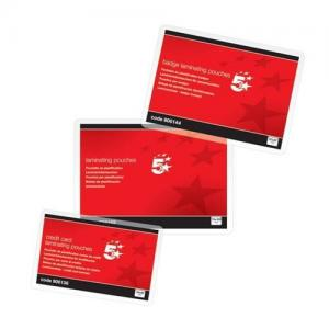 5 Star Office Gloss Laminating Pouches - Credit Card (Pkd 100)
