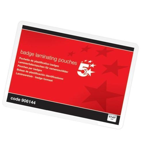 5 Star Office Gloss Laminating Pouches - Badge (Pkd 100)
