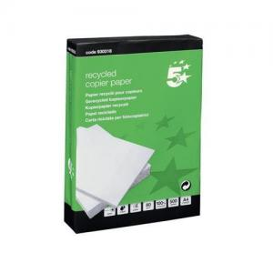 5 Star Recycled Paper 80gsm A4 HiWht (5x500 Sheets)