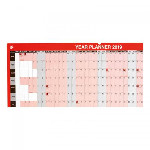 5 Star Office 2019 Year Planner Unmounted Landscape with Kit