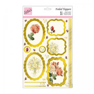 Anita's Foiled Toppers & Paper Pack - Peach Roses