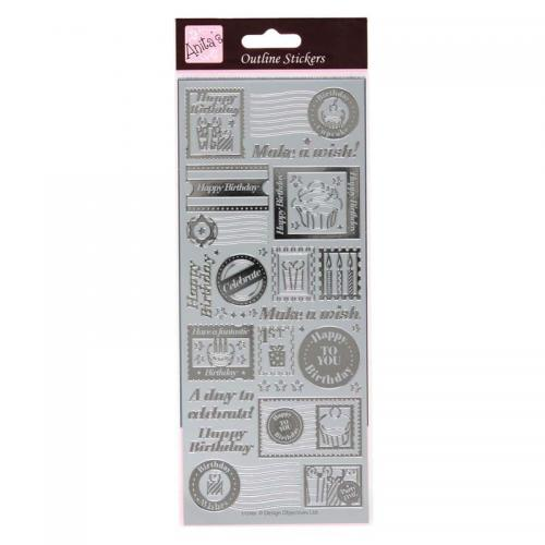 Anita's Outline Stickers - Birthday Stamps