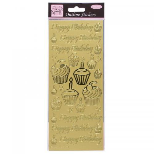 Anita's Outline Stickers - Birthday Cupcake