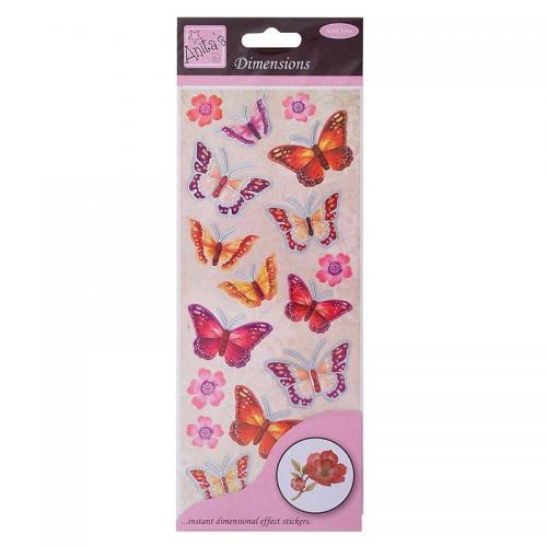 Anita's Dimensions - Butterflies - Red/Pink