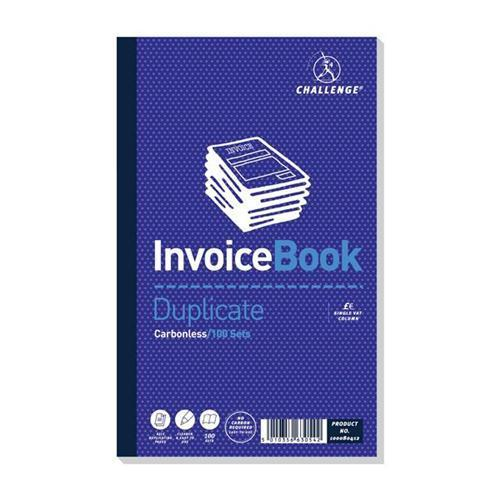 Challenge Carbonless Invoice with VAT - Taped Duplicate Book