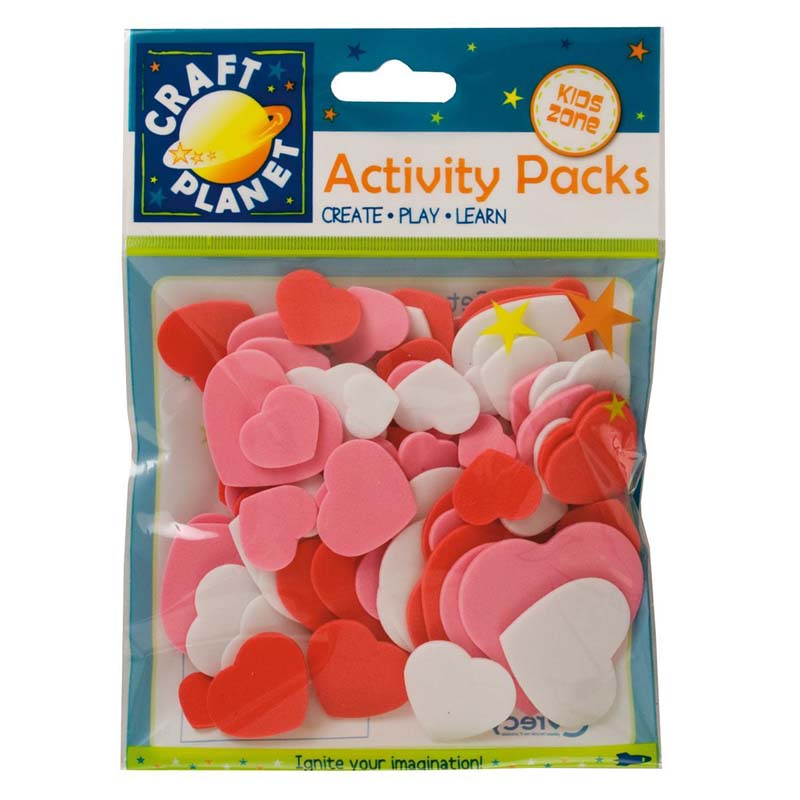 Craft Planet Crafty Foam (75pcs) - Hearts - Pink, Red, White